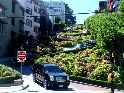 looking up Lombard Street in San Francisco