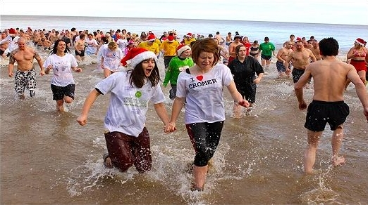 Charity fund raisers going for a Boxing Day Swim in the sea