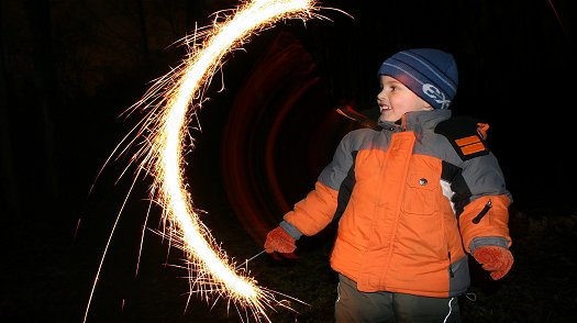 children and sparklers need to be supervised
