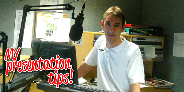 Paul Denton in the studio showing how to present on the radio