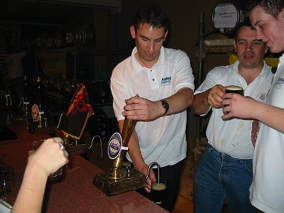 Paul Denton pulling the pints at the beer festival